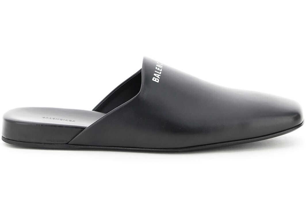 Balenciaga Cosy Leather Mules 597344 WA72G BLACK WHITE imagine b-mall.ro