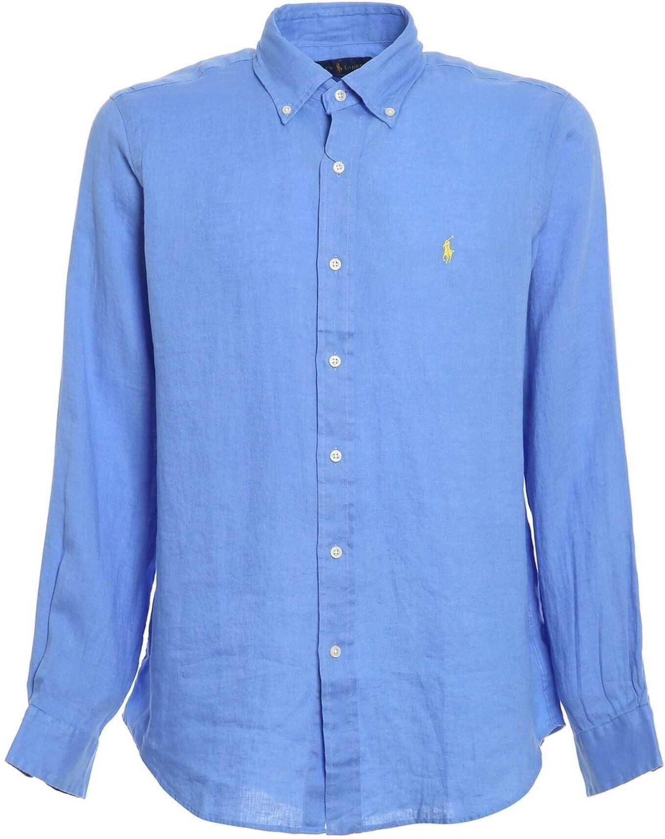 Ralph Lauren Linen Shirt In Light Blue Light Blue imagine