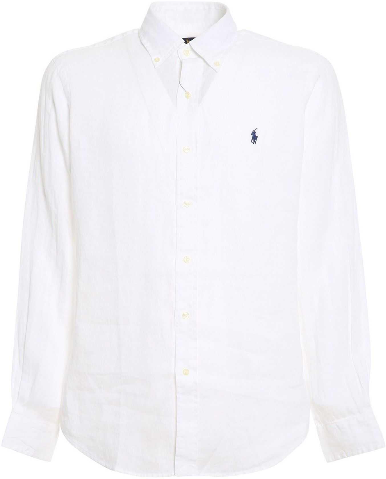 Ralph Lauren Linen Shirt In White White imagine