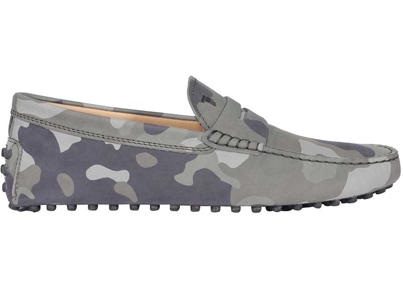 TOD'S Camouflage Nubuck Loafers In Green XXM64C00640PKPV008 Green imagine b-mall.ro