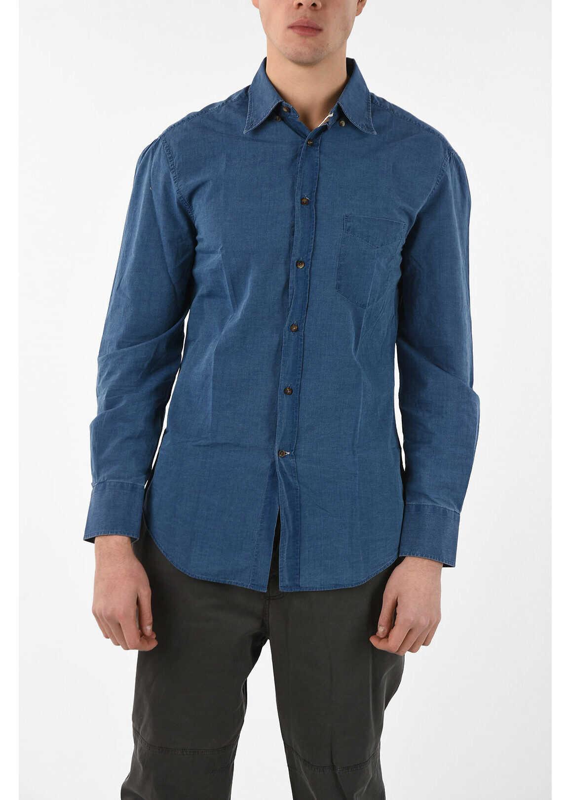 Brunello Cucinelli Camicia Button Down SLIM FIT in Denim BLUE imagine