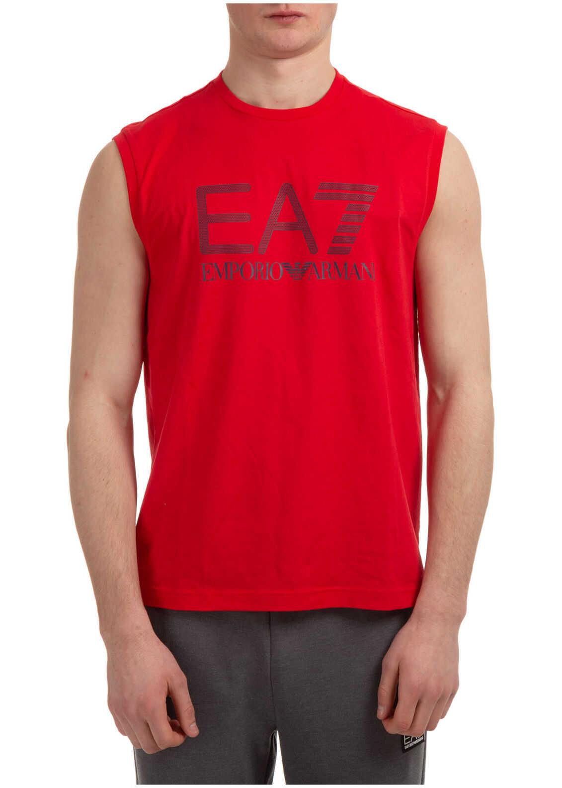 EA7 Sleeveless Tank Top T-Shirt Red imagine