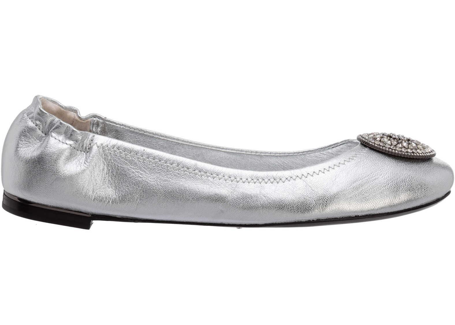 Tory Burch Flats Ballerinas 79198 Silver imagine b-mall.ro