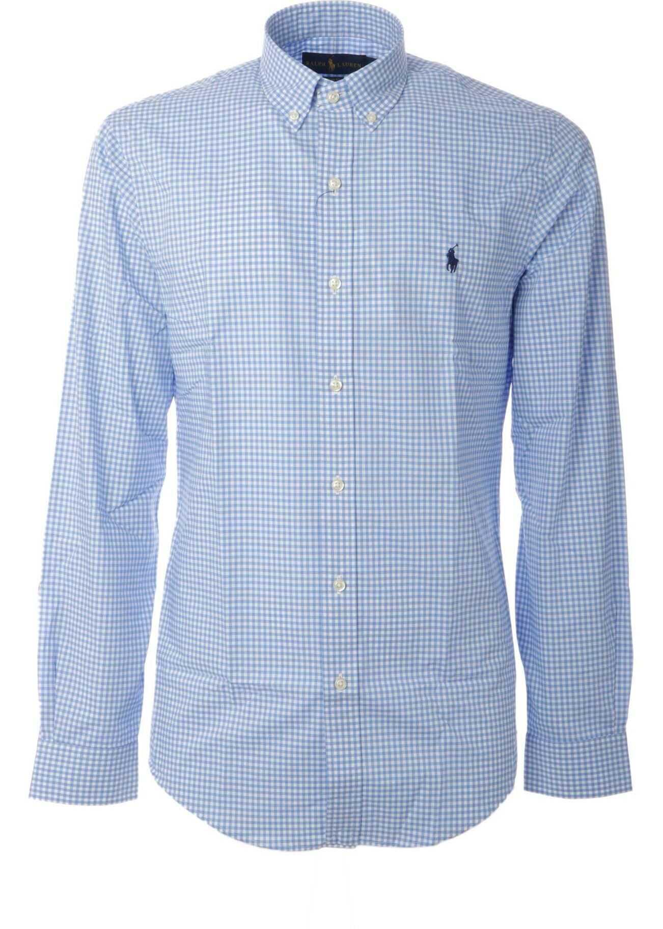 Ralph Lauren Checked Shirt In Light Blue And White Light Blue imagine
