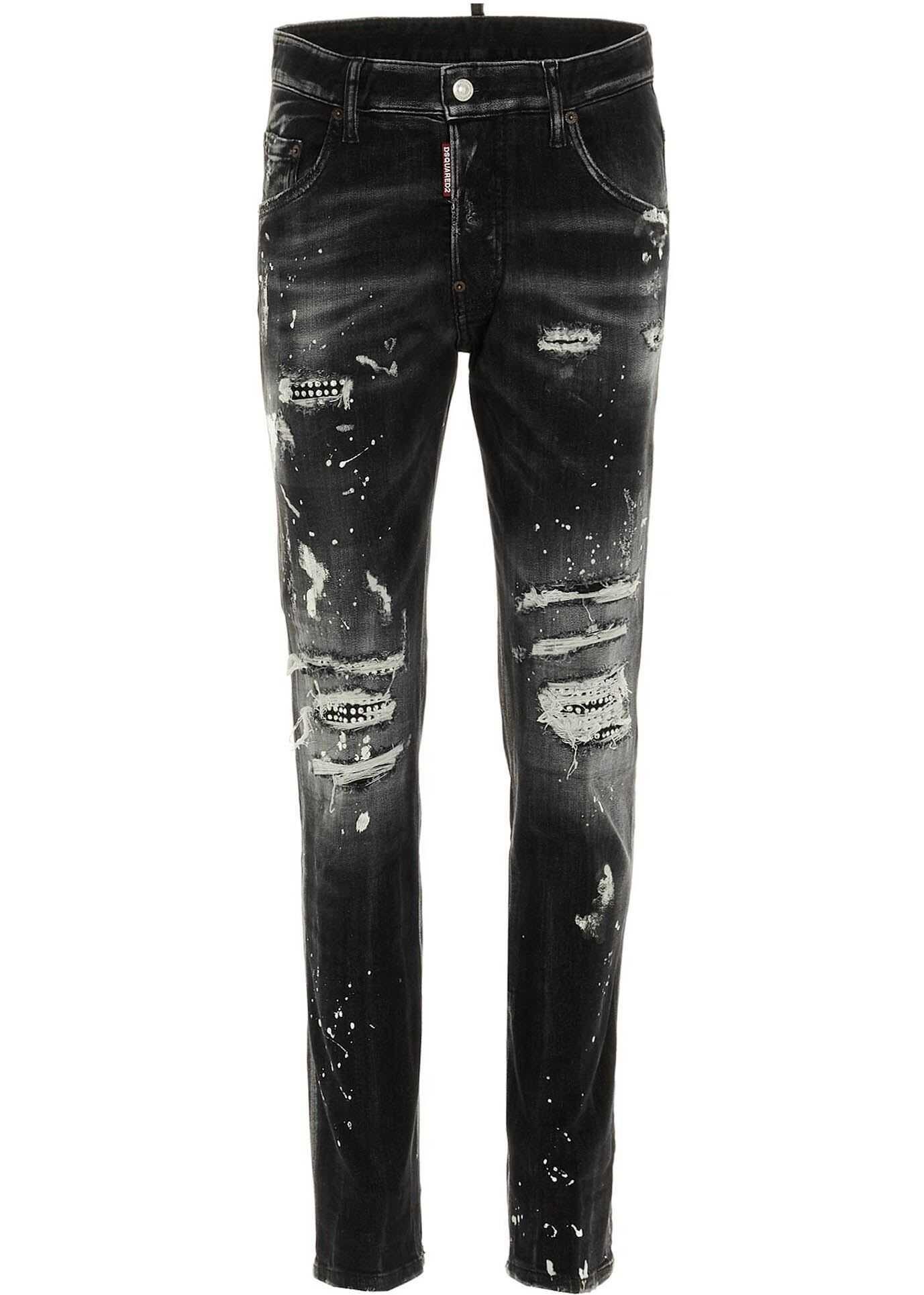 DSQUARED2 Trash Wash Skater Jeans In Black Black imagine