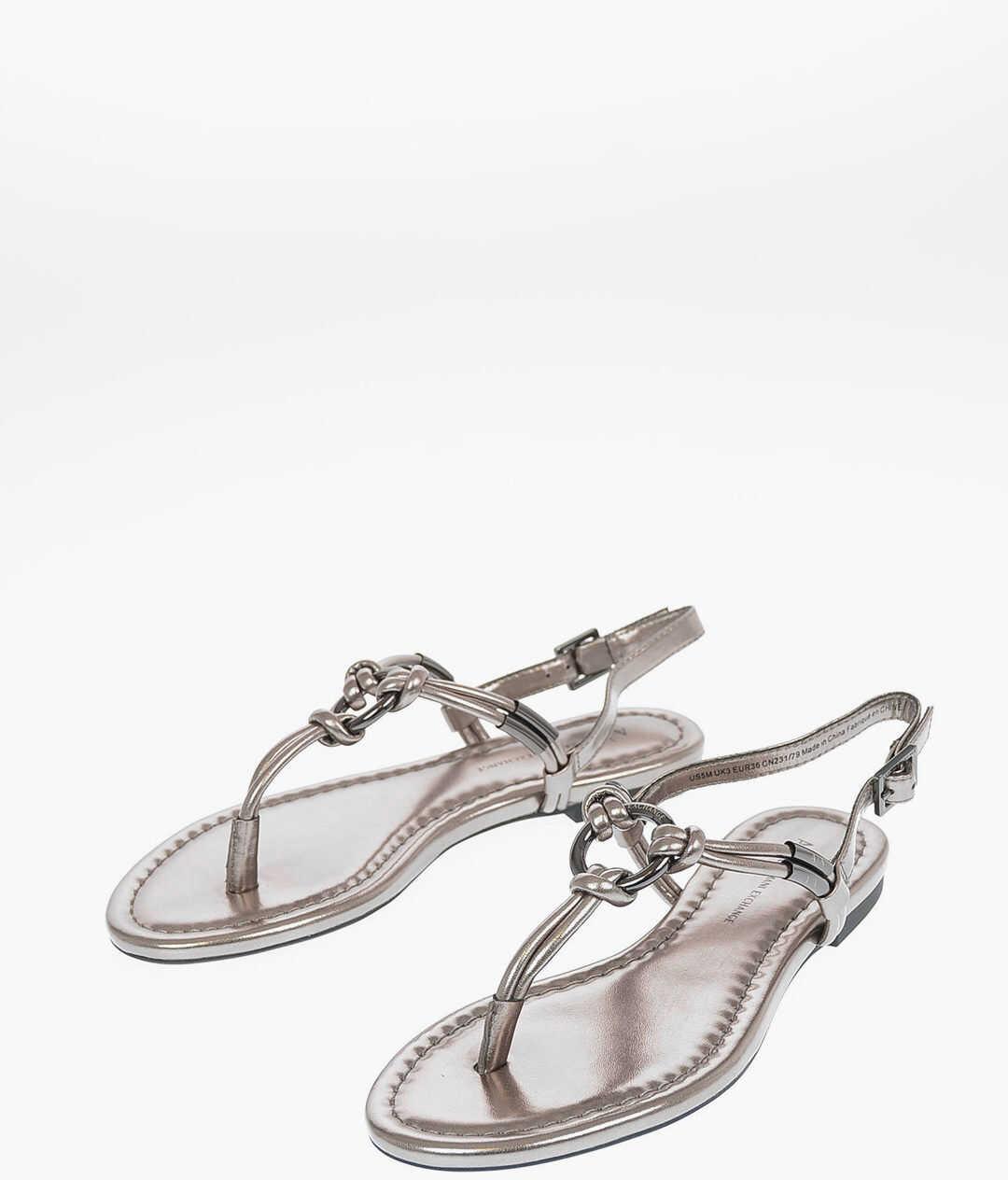 Armani ARMANI EXCHANGE Faux Leather Sandal SILVER imagine b-mall.ro