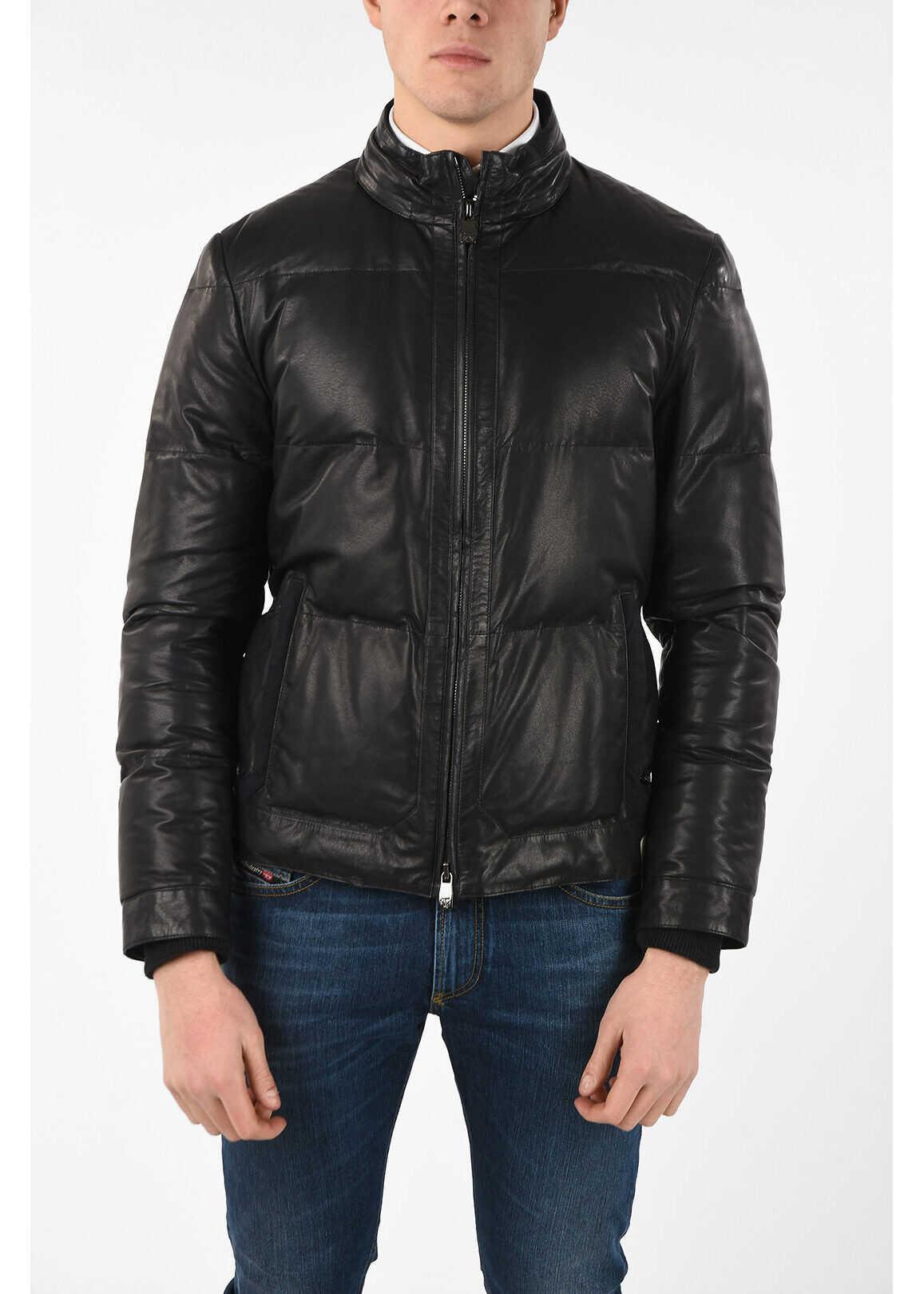 CORNELIANI ID leather down jacket with extractable Hood BLACK imagine