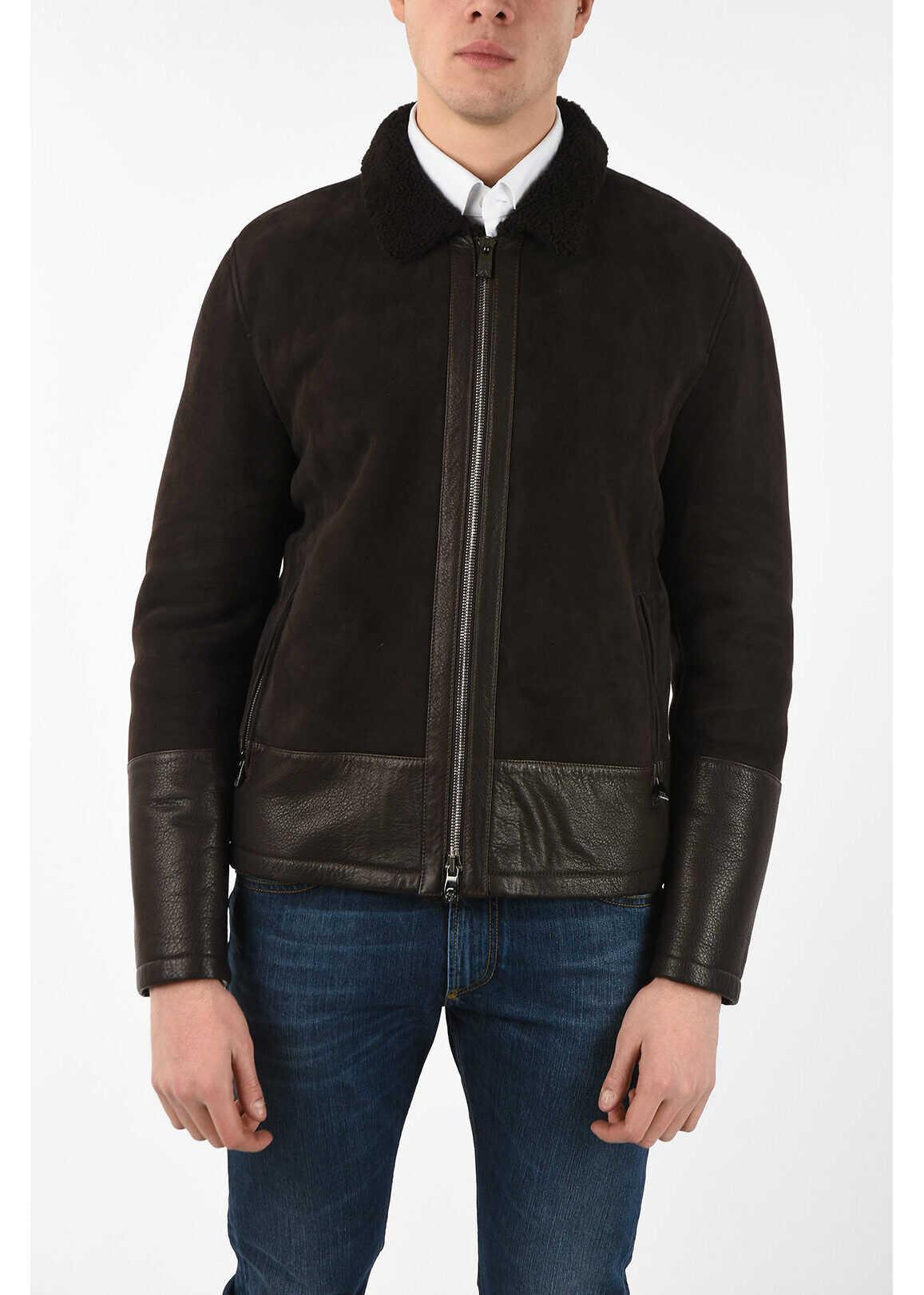CORNELIANI ID full zip suede leather outerwear jacket BROWN imagine