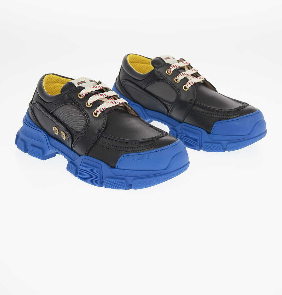 Gucci Soft Leather STREET STYLE PLAIN Track Sneakers BLACK imagine b-mall.ro