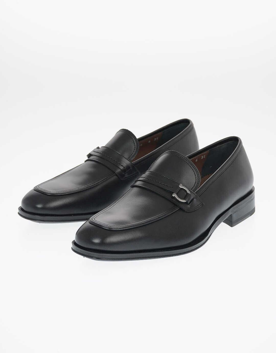 Salvatore Ferragamo Leather ANTONIO Bit Loafers with Horsebit BLACK imagine b-mall.ro