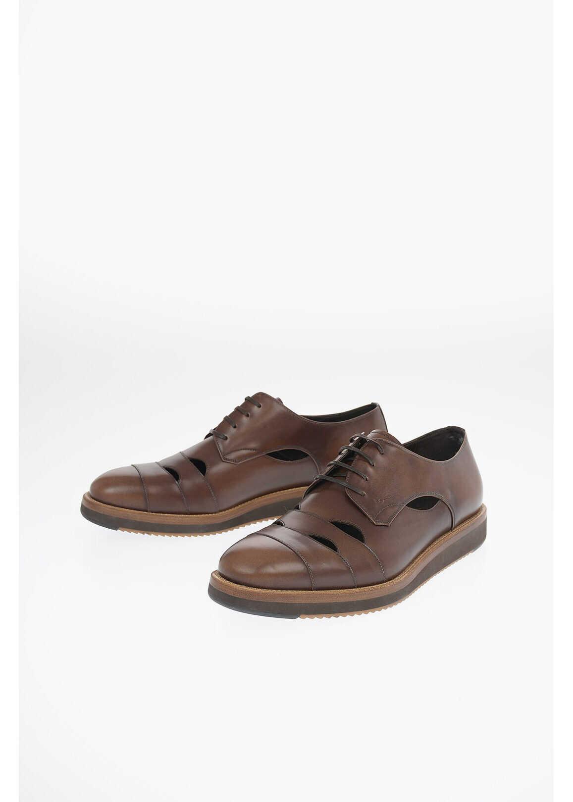 Salvatore Ferragamo Leather Unstructured FAMOSO Derby Shoes BROWN imagine b-mall.ro
