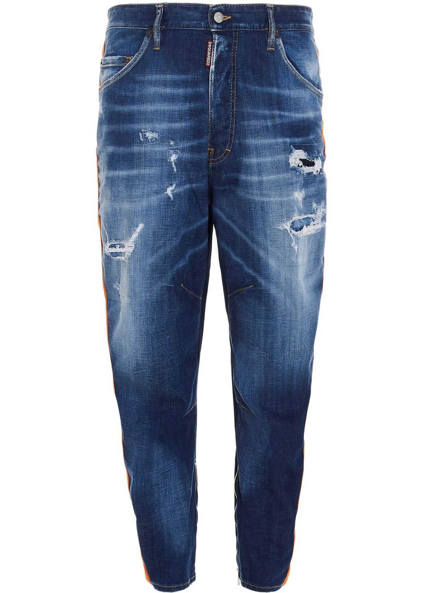 DSQUARED2 Combat Light Wash Jeans In Blue Blue imagine