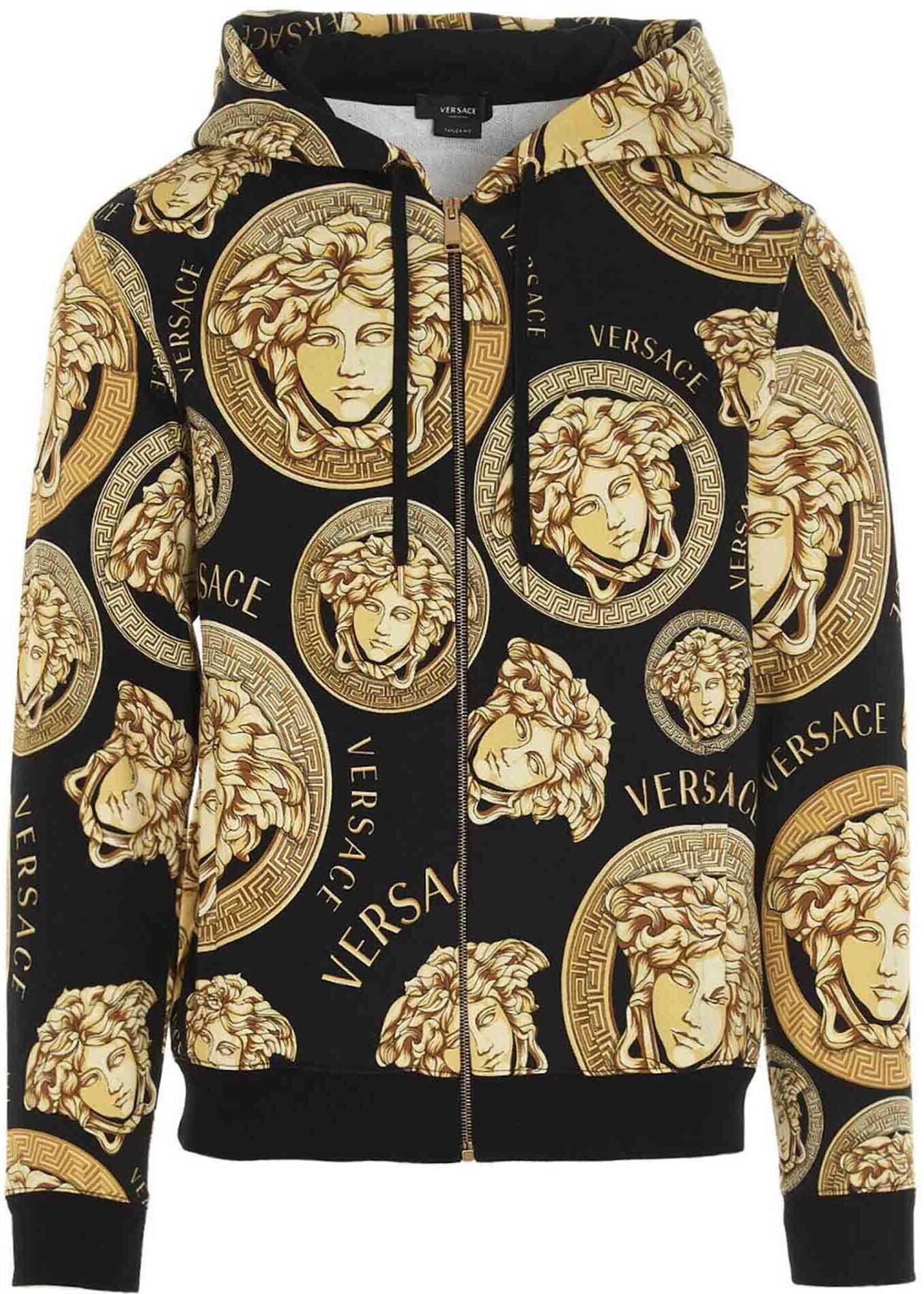 Versace Medusa Print Sweatshirt In Black Black imagine