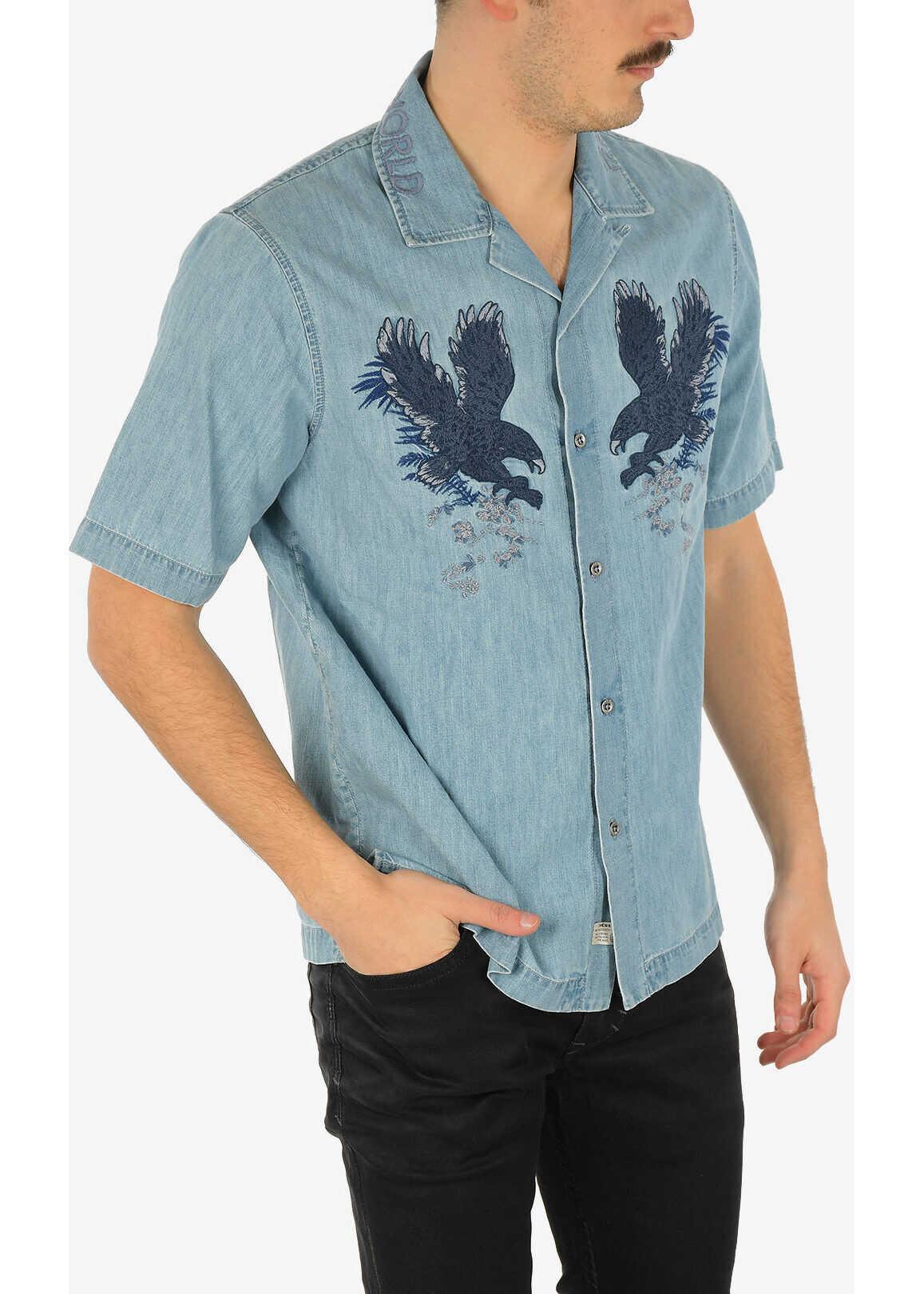 Diesel Embroidered Denim D-RASHI Shirt with Short Sleeve BLUE imagine