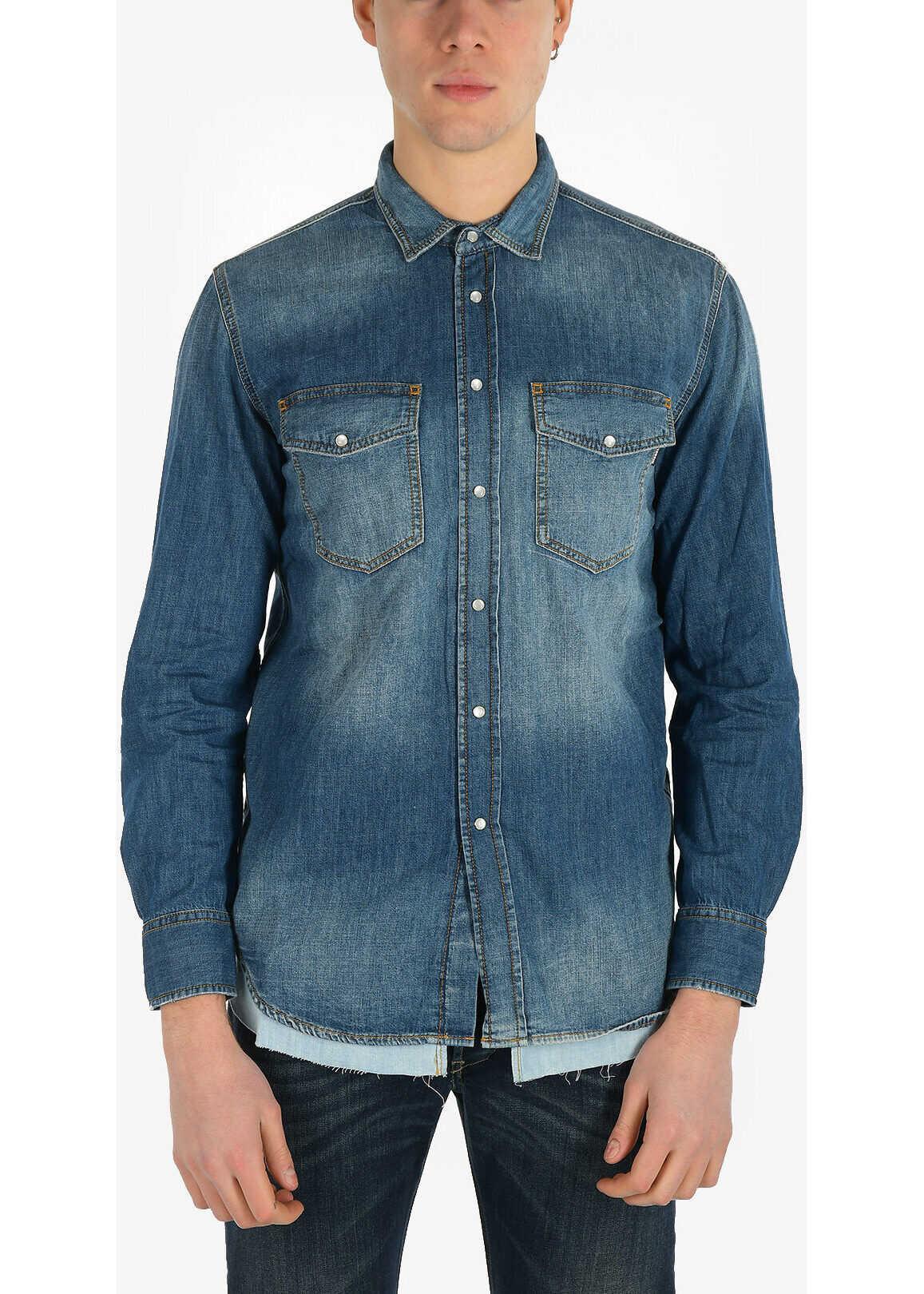 Diesel Snap Button Denim D-ROOKE-C Shirt BLUE imagine