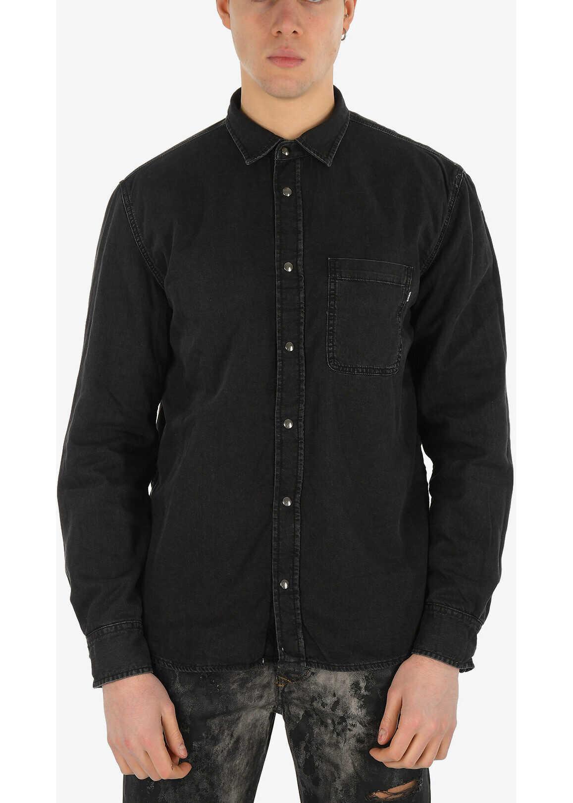 Diesel Reversible Denim D-WEAR-C Shirt with Snap Button BLACK imagine
