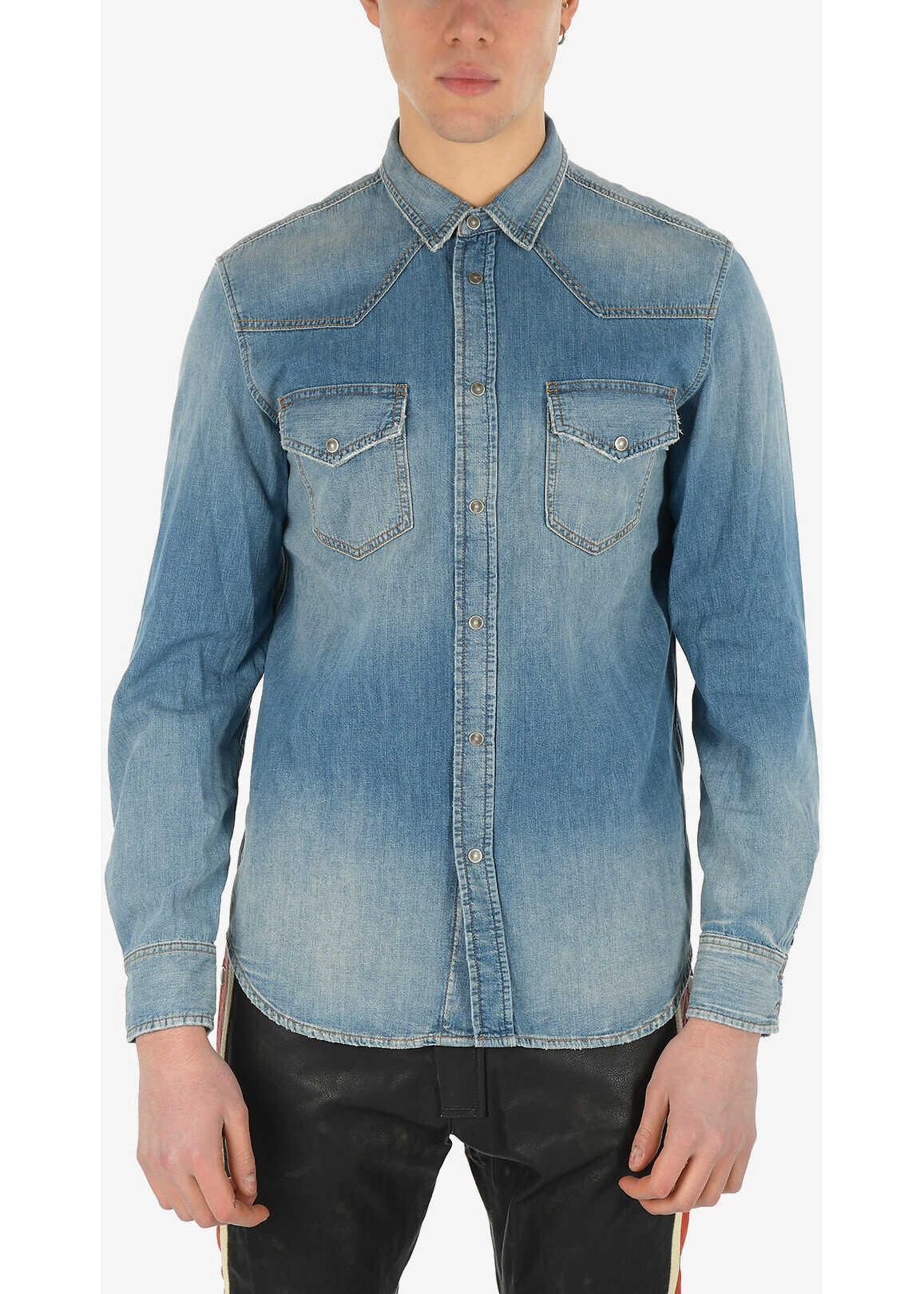 Diesel Stonewashed Denim D-EAST-W Shirt with Snap Button BLUE imagine