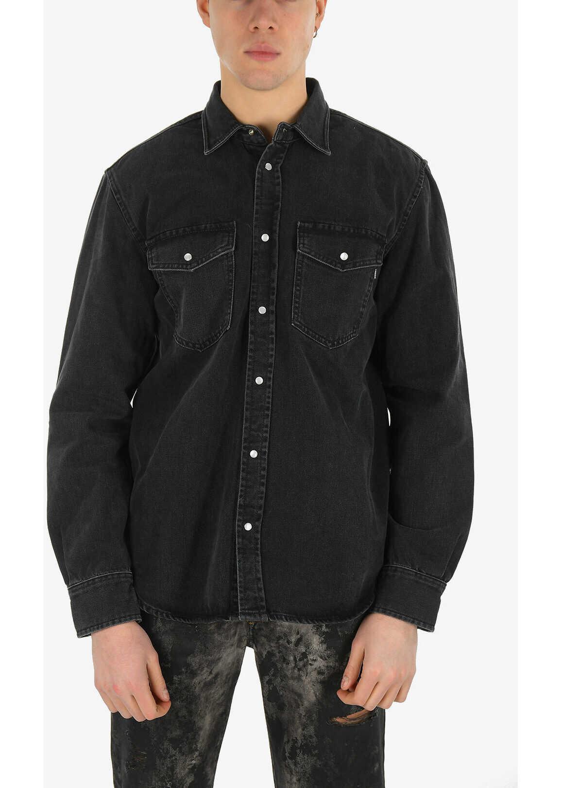 Diesel Snap Button Denim D-ROOKE-L Shirt BLACK imagine