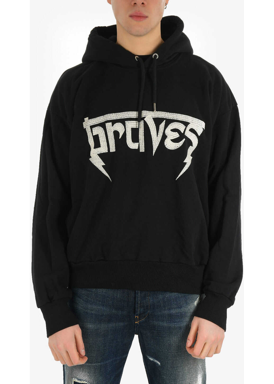 Diesel Embroidery S-ALBY-HOOD-WB Sweatshirt with Side Pockets BLACK imagine