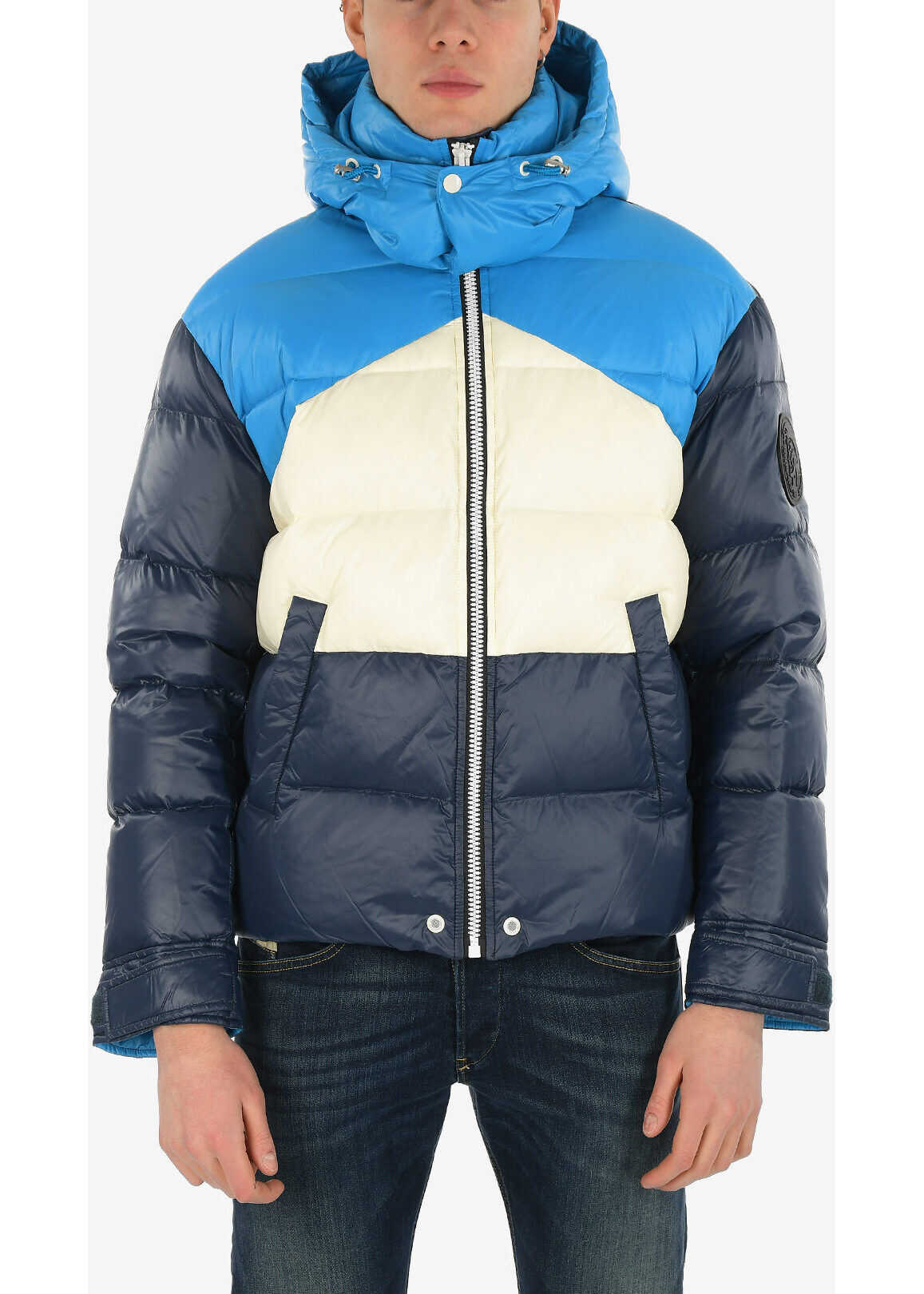 Diesel Removable Hooded W-SMITH Down Jacket BLUE imagine