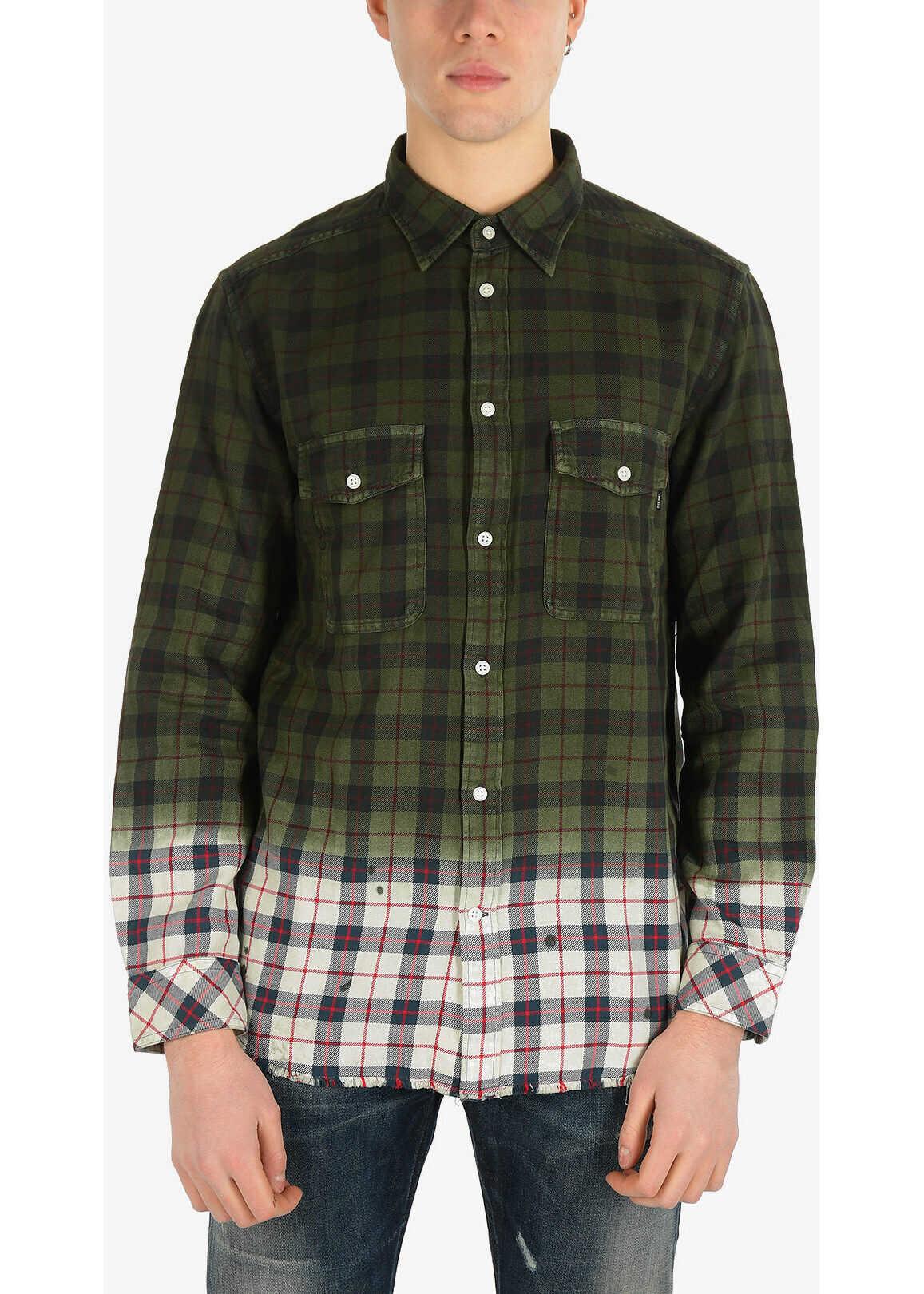 Diesel Tartan S-MILLER Shirt GREEN imagine
