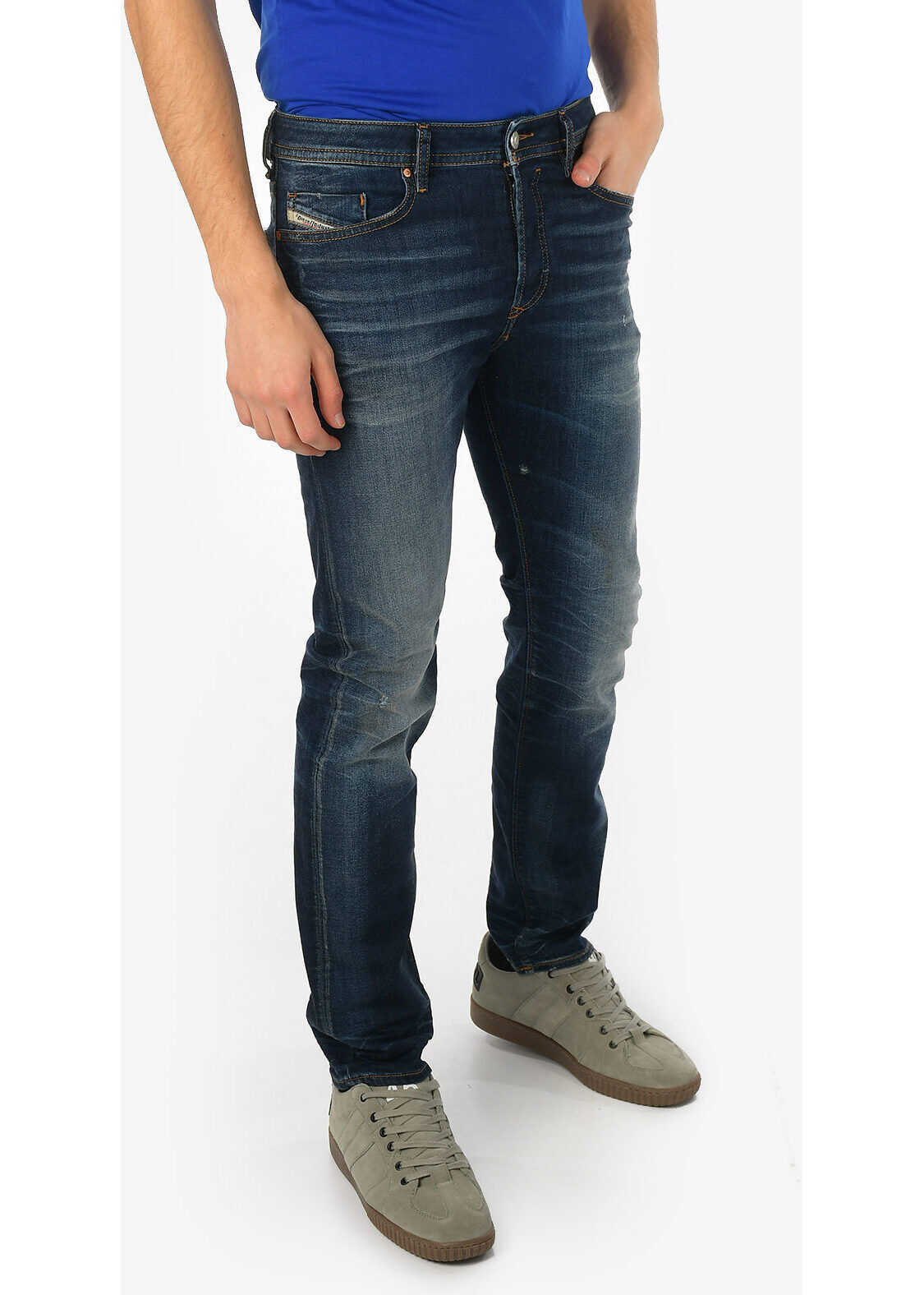 Diesel 17cm Stonewashed BUSTER Slim Fit Jeans L32 BLUE imagine