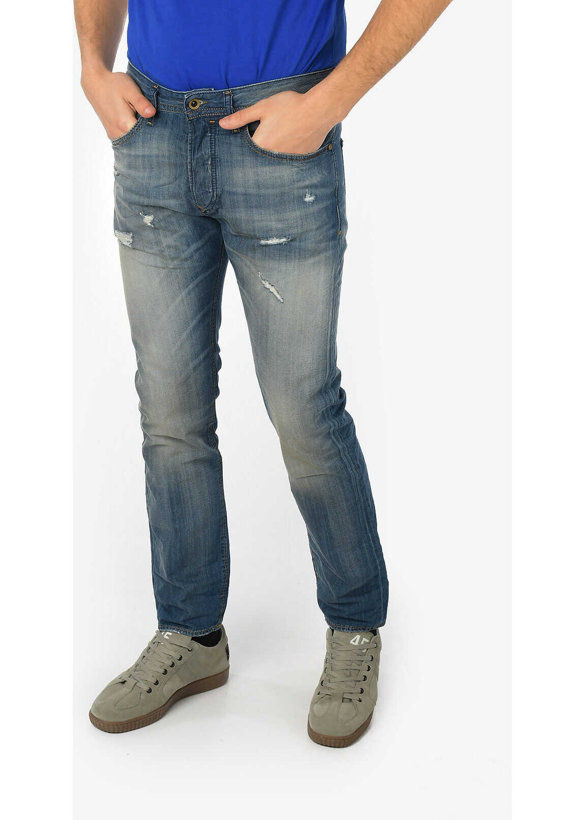 Diesel 18cm Stone Washed BUSTER Slim Fit Jeans L32 BLUE imagine