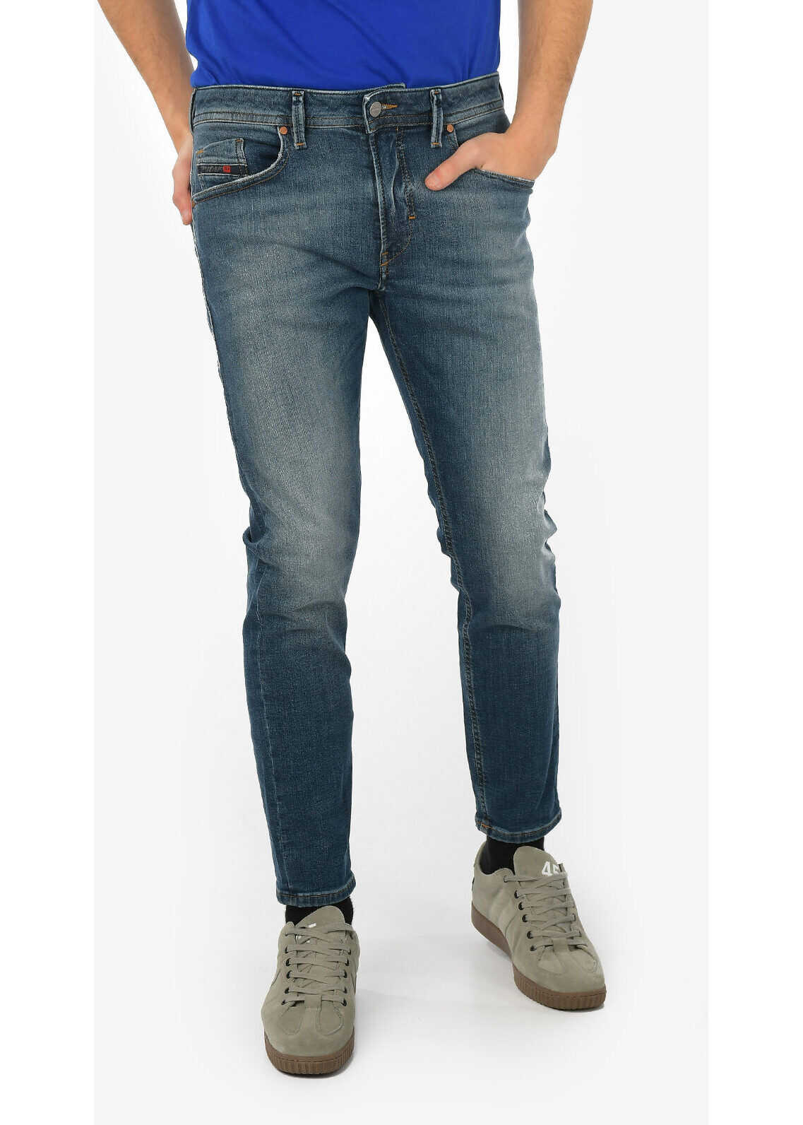 Diesel 15cm Stonewashed THOMMER-T Jogg Jeans BLUE imagine