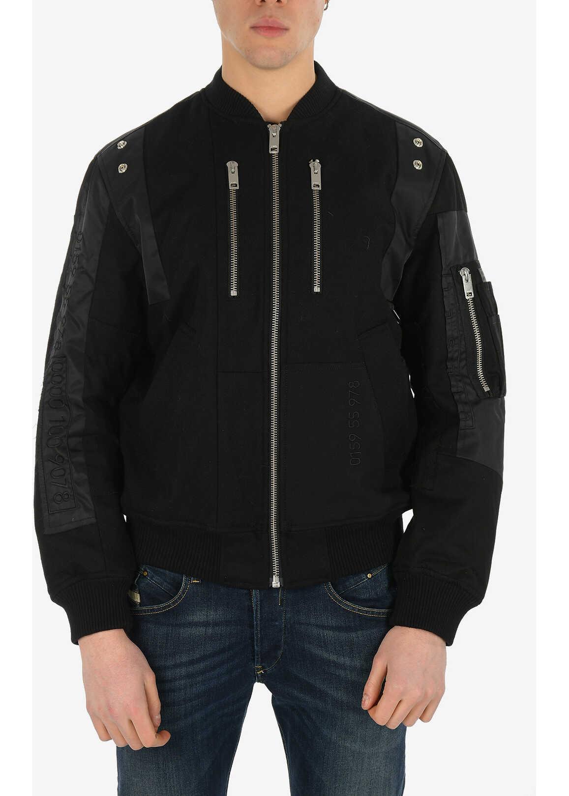 Diesel Wool W-GARBO Jacket with Zip Closure BLACK imagine