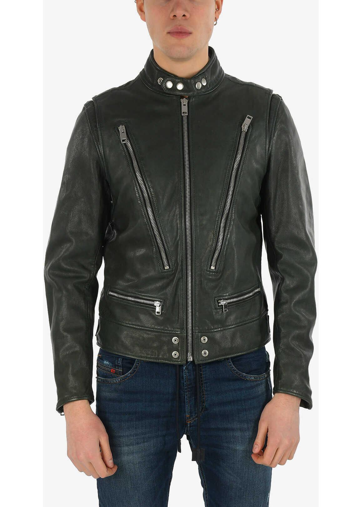 Diesel Leather L-KOJI Jacket with Zip Closure GREEN imagine