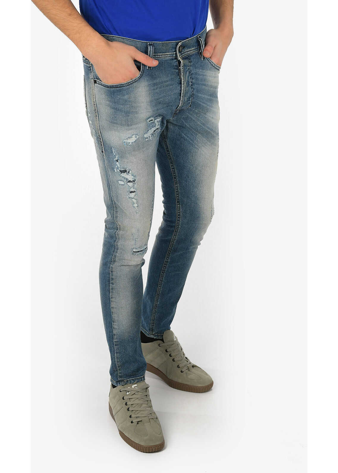Diesel D.N.A. 16cm Stone Washed TEPPHAR Slim Fit Jeans L30 BLUE imagine
