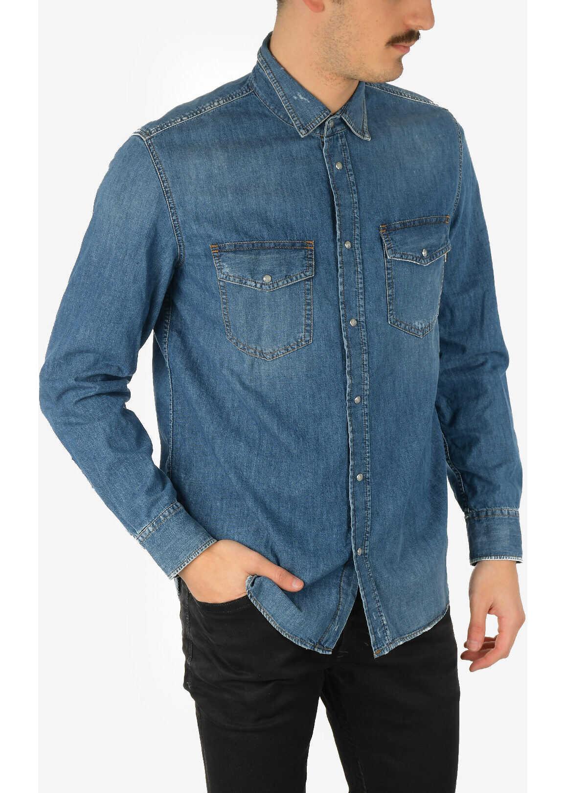 Diesel Snap Button Denim D-ROOKE Shirt BLUE imagine