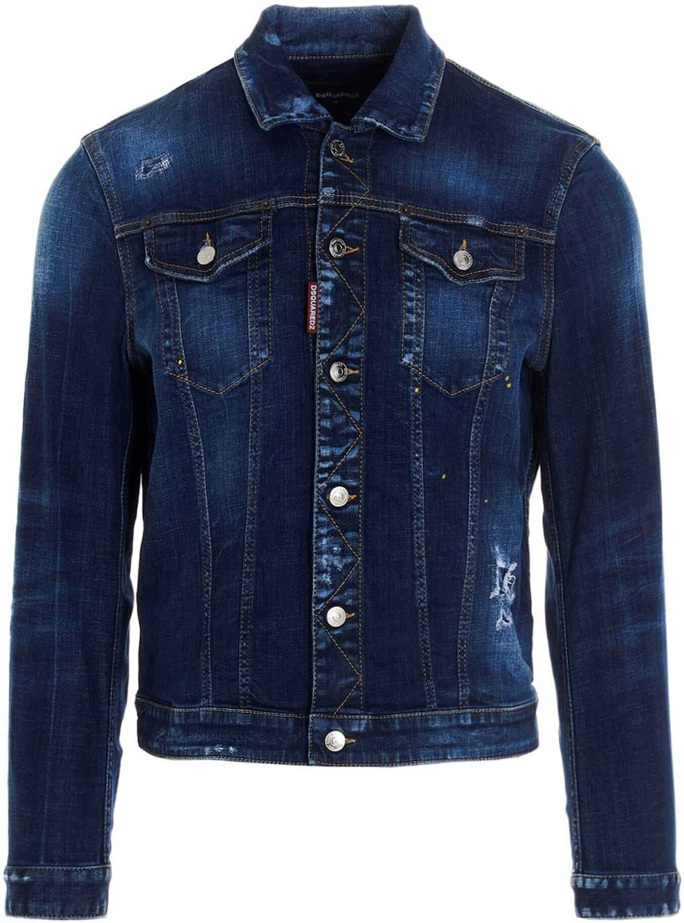 DSQUARED2 Icon Logo Denim Jacket In Blue Blue imagine