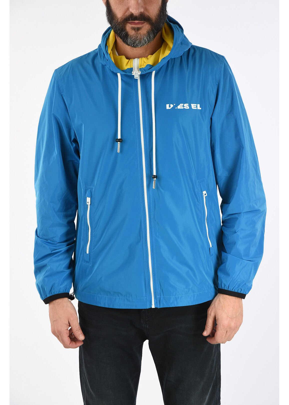 Diesel Hooded J-PHOEN-PLAIN-BRO Waterproof Jacket BLUE imagine