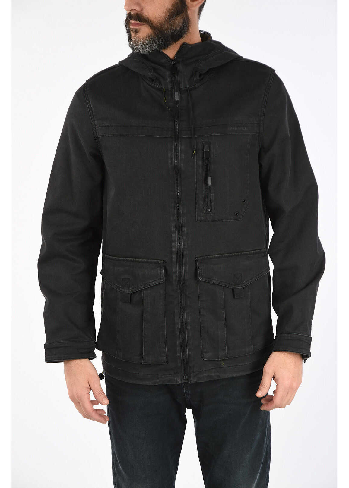 Diesel Hooded JOQUE-NE Denim Jacket BLACK imagine