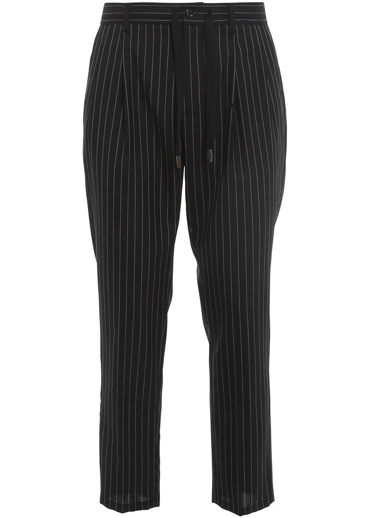 Dolce & Gabbana Pinstriped Brushed Wool Trousers In Black Black imagine
