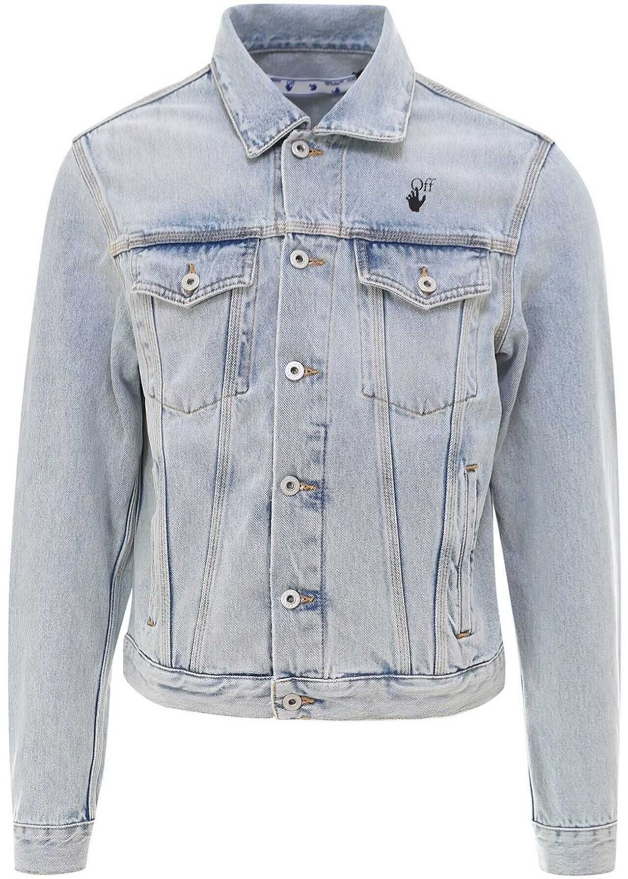 Off-White Monnalisa Denim Jacket In Light Blue Light Blue imagine