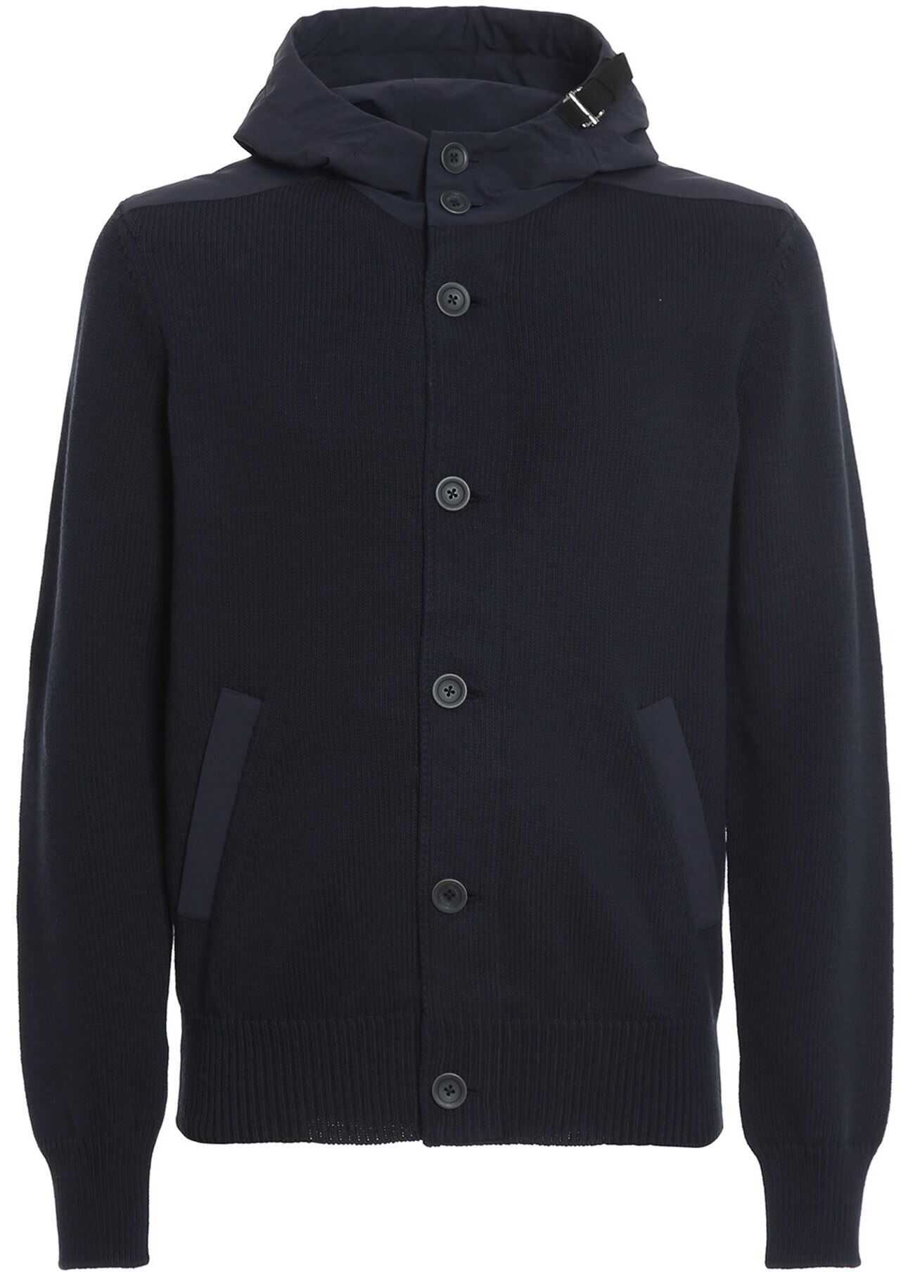 Herno Knitted Jacket In Blue Blue imagine