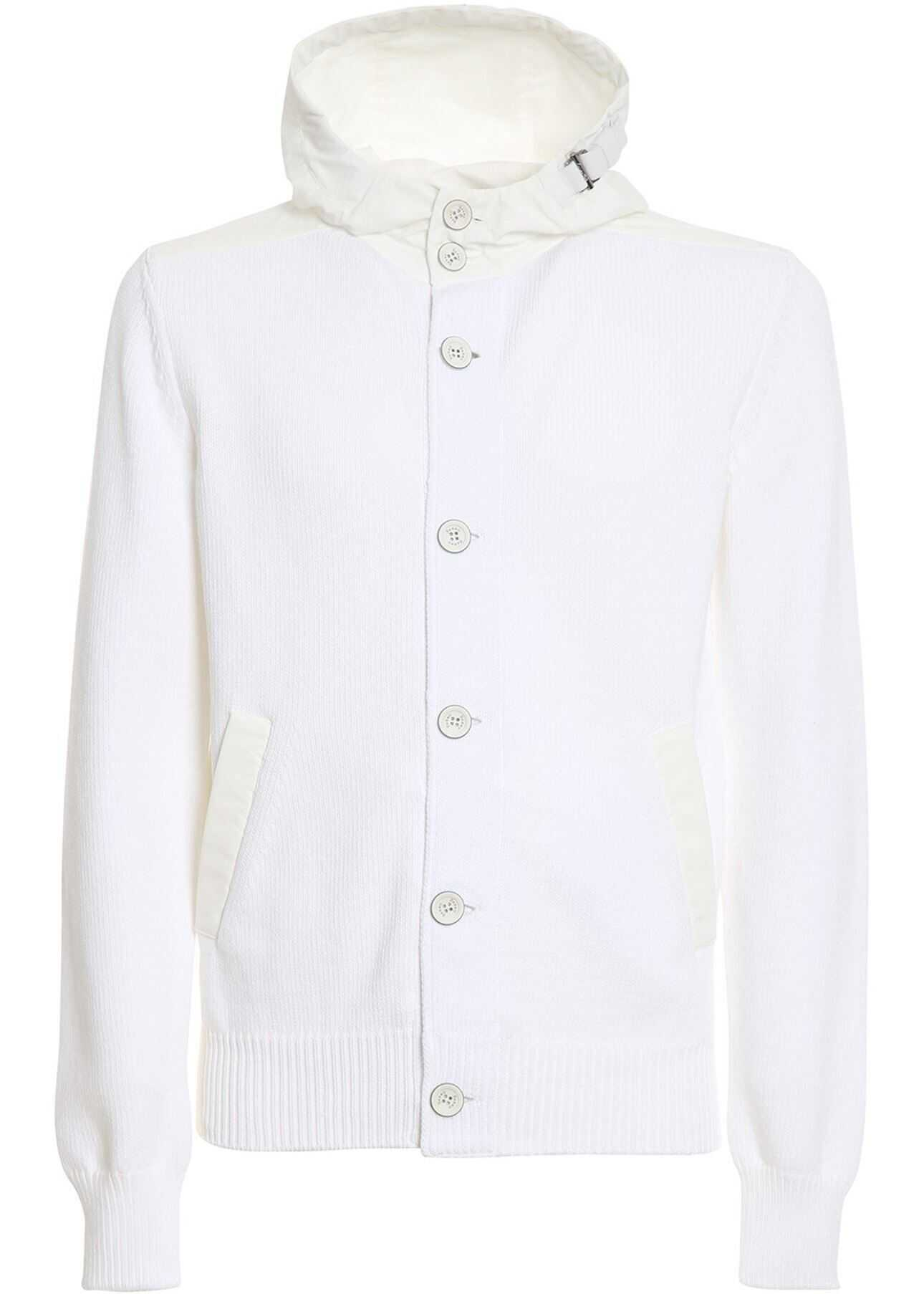 Herno Knitted Jacket In White White imagine