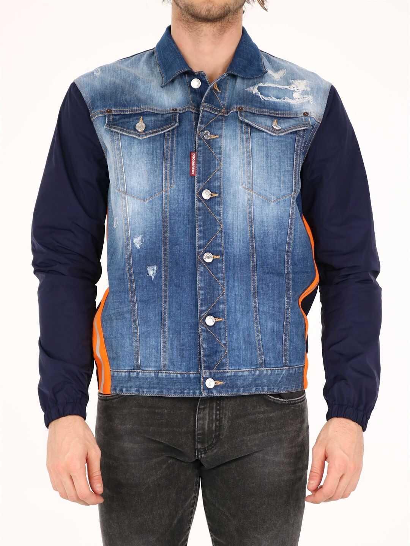 DSQUARED2 Nylon Layered Dan Denim Jacket Blue imagine