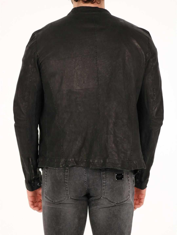 Salvatore Santoro Leather Biker Jacket Black imagine