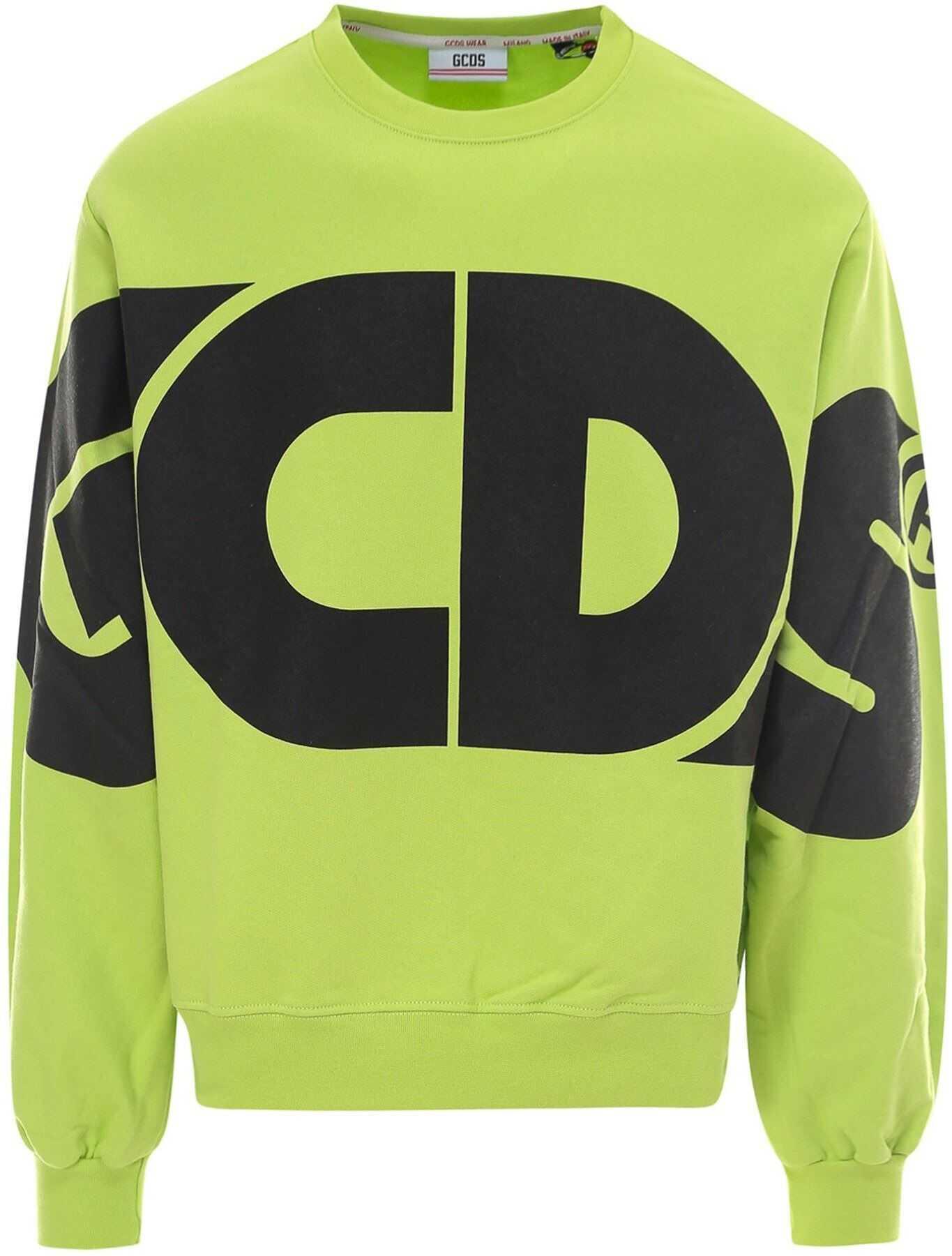 GCDS Logo Sweatshirt In Green Green imagine