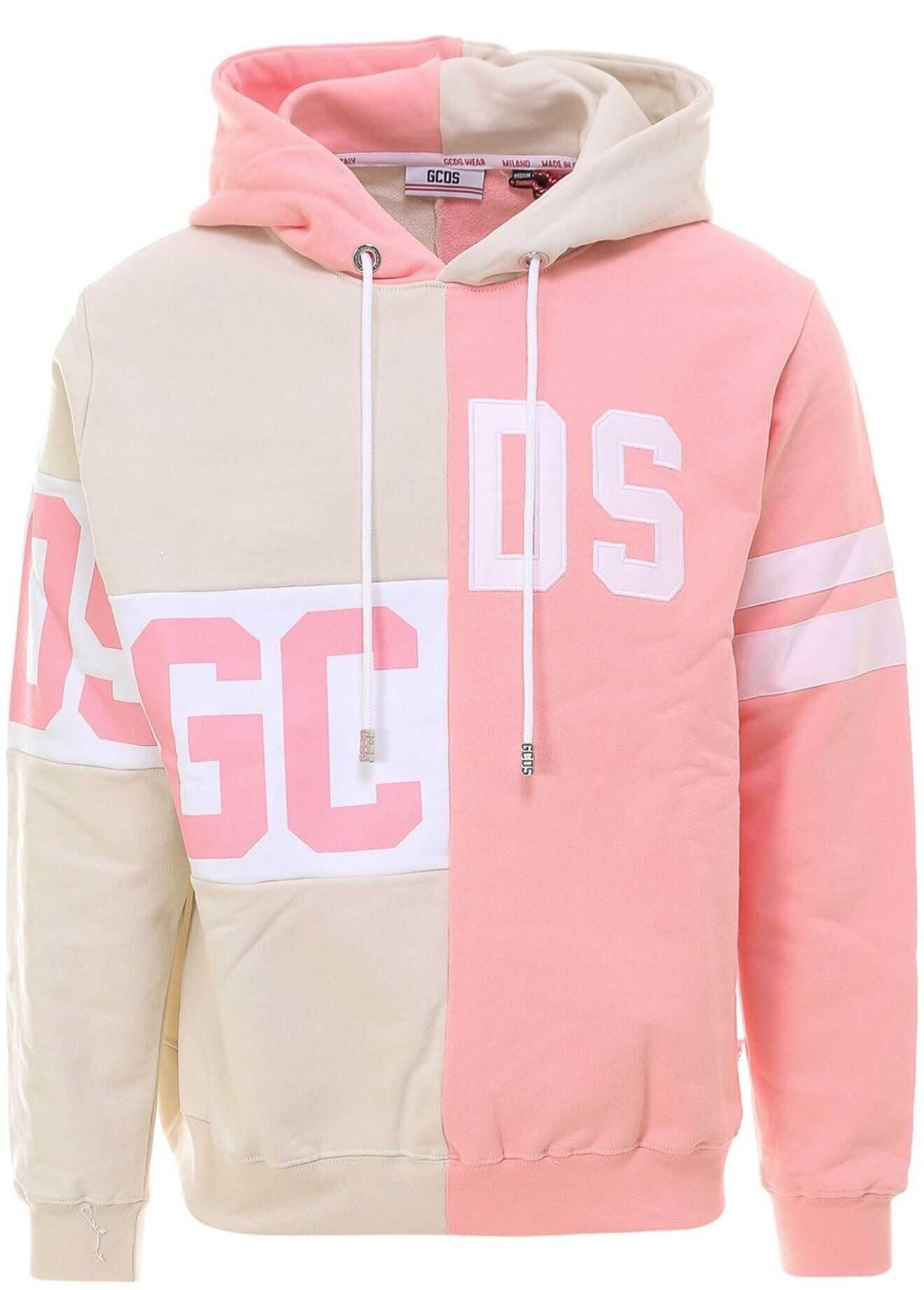 GCDS Two-Tone Hoodie Pink imagine