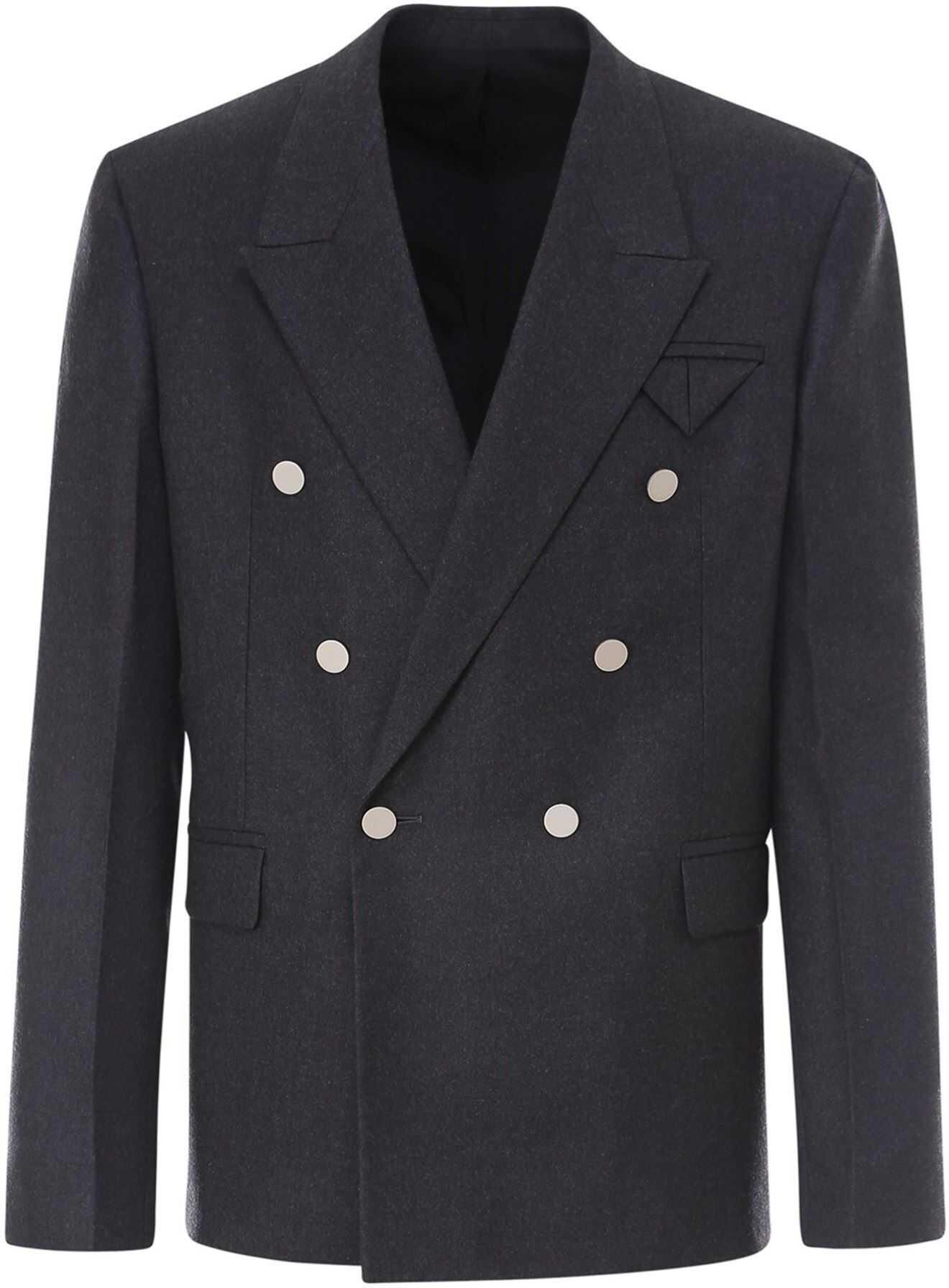 Bottega Veneta Wool Blazer In Grey Grey imagine