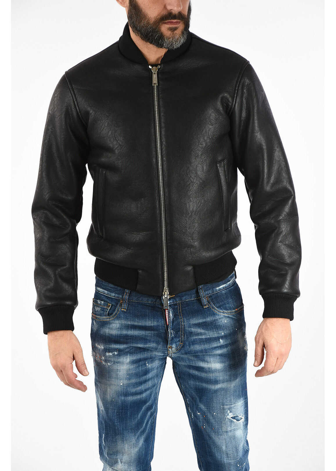 DSQUARED2 Ecoleather Padded Bomber with Zip Closure BLACK imagine