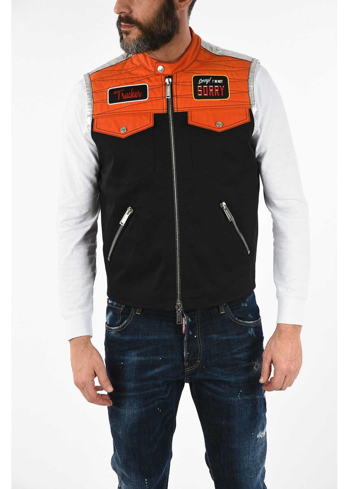 DSQUARED2 Metal Leather Details Sleeveless Jacket MULTICOLOR imagine