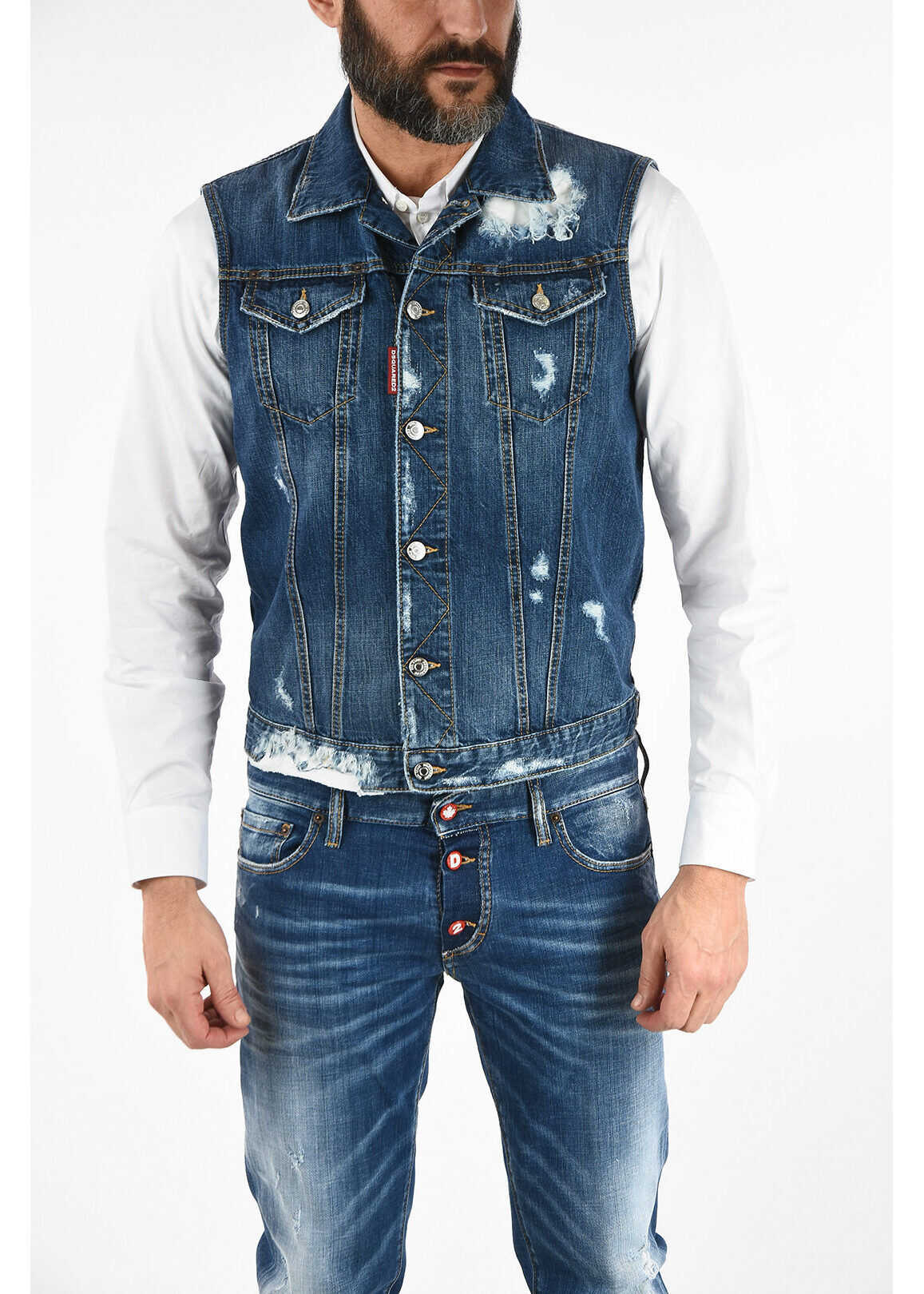 DSQUARED2 Distressed Details Sleeveless Denim Jacket BLUE imagine