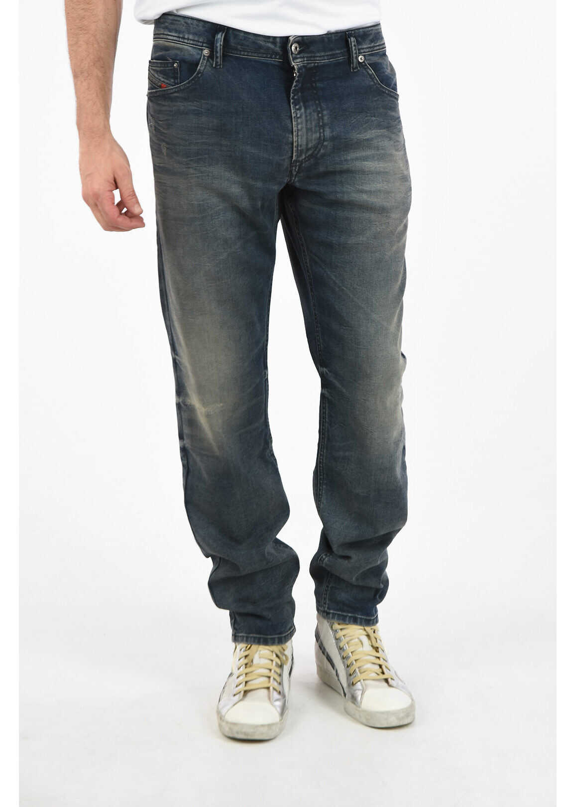Diesel 19cm Vintage Effect THAVAR-XP Slim Fit Jeans L32 BLUE imagine