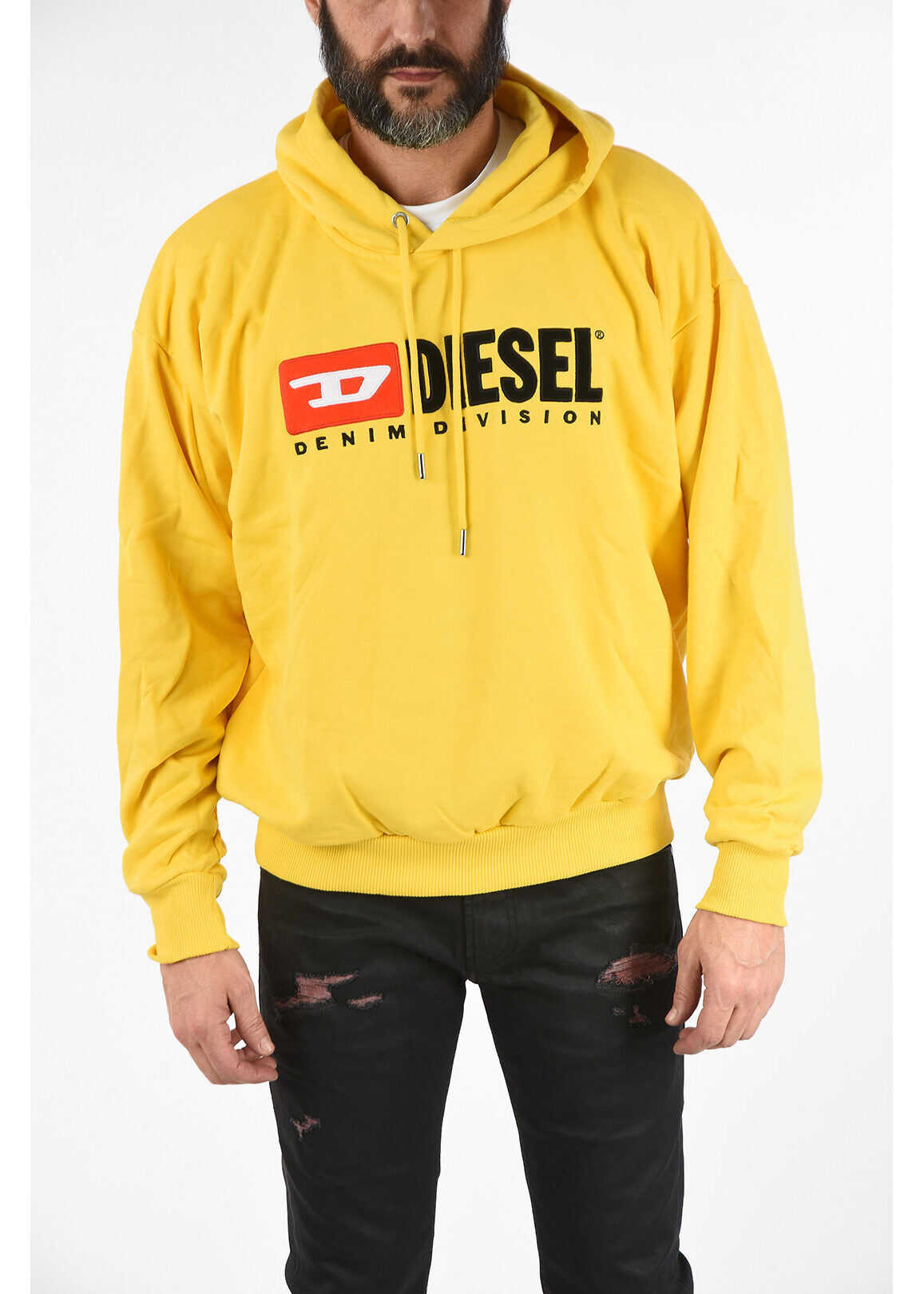 Diesel Logo-Embroidered S-DIVISION Sweatshirt with Hood YELLOW imagine