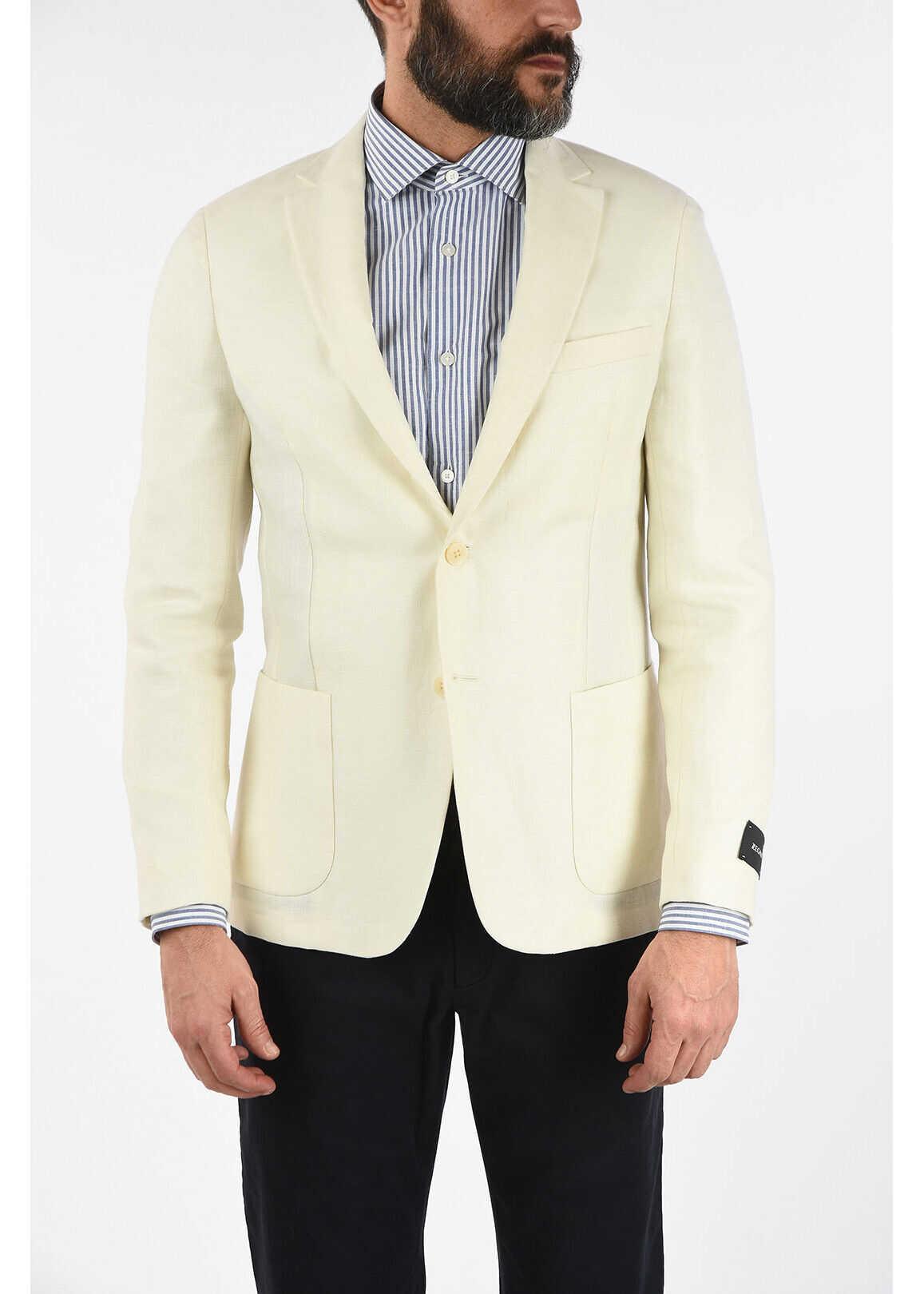 Ermenegildo Zegna ZZEGNA Linen and Wool 2 Button Blazer with Notch Lapels WHITE imagine